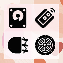 Simple Set Of Compact Related Filled Icons