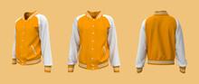 Varsity Jacket Mockup In Front, Side And Back Views. 3d Illustration, 3d Rendering