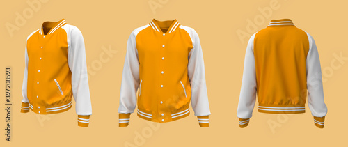 Canvas Print Varsity Jacket mockup in front, side and back views