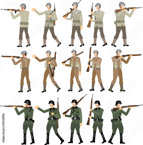 World War Two Soldier Set, American, British and SS German, WW2 Troop, Rifle M1 Fototapeta