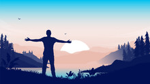 Love Nature - Man Standing With Open Arms Welcoming A New Day In Front Of Landscape And Sunrise. Vector Illustration.