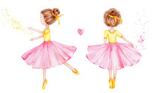 Two Cartoon Ballerinas, Pink Heart And Splash; Watercolor Hand Draw Illustration; With White Isolated Background