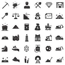 Mining Icons. Black Scribble Design. Vector Illustration.