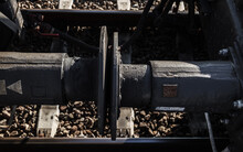Buffers And Chain Screw Couplers Of Cargo Freight Train Carriages.