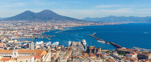 Naples, Italy - One Of The Most Enchanting Landscapes In The Country, The Gulf On Naples And The Mount Vesuvius Are Worldwide Famous. Here The Gulf And The Volcano Seen From Certosa Fortress