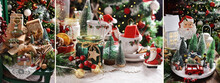 Christmas Collage With Beautiful Decorations