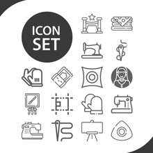Simple Set Of Woven Related Lineal Icons.