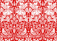 Hand Drawn Seamless Pattern Ornament With Rabbit, Bird And Plants On Red Background. Vector Illustration.