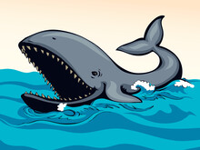 Whale With Open Mouth. Vector Drawing
