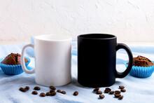 White And Black Mug Mockup With Chocolate Muffins