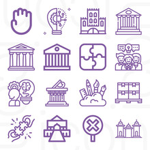 16 Pack Of Heritage  Lineal Web Icons Set