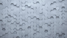 Futuristic, High Tech, Light Background, With A Hexagonal Cellular Structure. Wall Texture With A 3D Hexagon Tile Pattern. 3D Render