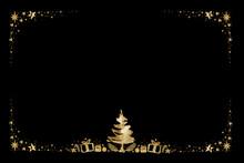 Watercolor Paint Christmas Ornaments Card Frame Pine Center And Stars Gold Metallic Elegant Handmade Painting Bush