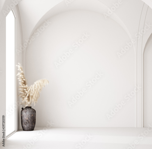 Foto Contemporary  empty home interior, Scandi-Boho style, 3d render