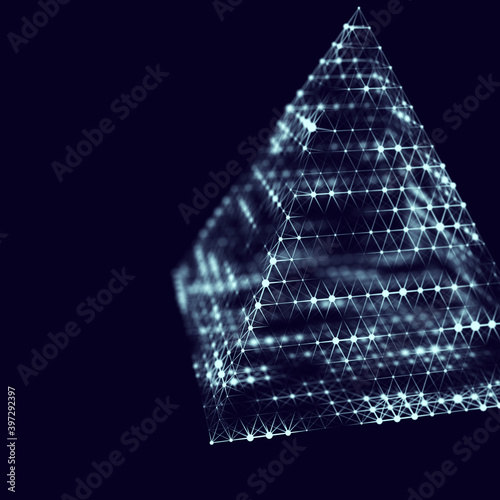 Photo Lighting pyramid with connecting dots and lines