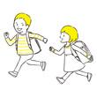 手描き1color 笑顔で走る男の子と女の子 ランドセル