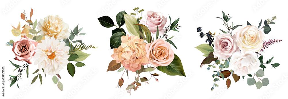 Fototapeta Rust orange and blush pink antique rose, beige and pale flowers, creamy dahlia, peony, ranunculus