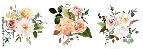 Fotografija Rust orange and blush pink antique rose, beige and pale flowers, creamy dahlia,