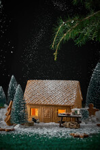 Beautiful Christmas Scene Of A Gingerbread House