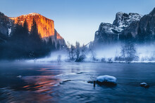 Sunset Light On El Capitan During Winter In Yosemite National Park, California