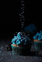 Sprinkled Cupcake With Blue Cream