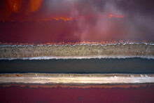 Abstract Aerial Drone Photo Of Red Salt Evaporation Pond