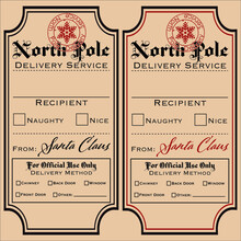 Set Of Vector Labels, Santa Gift Tags, Special Delivery, North Pole
