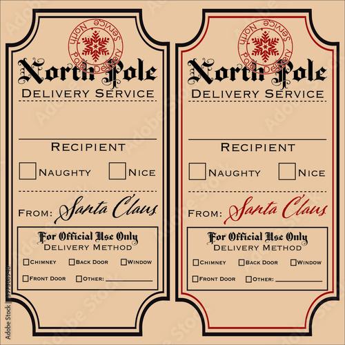 Fototapeta Set of vector labels, Santa gift tags, Special Delivery, North Pole obraz