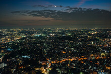 Aerial View Of Huge Urban Cityscape At Night, Yokohama Japan