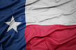 canvas print picture - waving colorful flag of texas state.