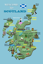 Cartoon Map Of Scotland. Icons With Scottish Landmarks, Famous Cultural Sites, Whiskey. Highland Dancer And Bagpiper. Castles, National Park, Loch Ness And More.
