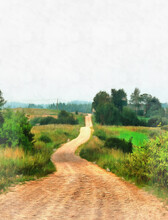 Beautiful Rural Landscape With Dirt Road Colorful Painting Looks Like Picture.