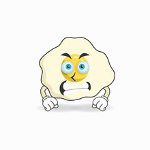 Egg Mascot Character With Angry Expression. Vector Illustration