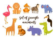 Vector Illustration Set Of Animal Including Flamingo, Lion, Monkey, Zebra, Elephant, Toucan, Crocodile, Rhino, Tiger, Giraffe. Jungle Animals Isolated On White.