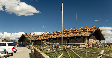 Panorama shot of large visitor center with wooden beams in rocky moutains national park in usa