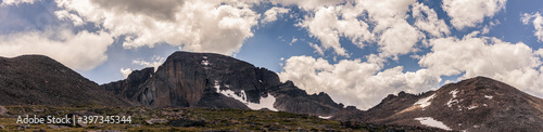 Panorama shot of Rocky Longs peak top with keyhole and clouds background in rocky moutains national park in america