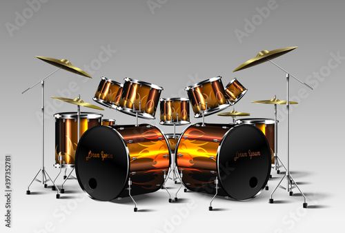 Tela Set of Realistic drum kit. Vector.