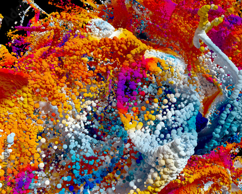 Fototapety, obrazy: 3d render of abstract art festive 3d background with surreal growing explosion smoke cloud splash fluid based on small and big balls particles in red orange purple blue and white gradient color