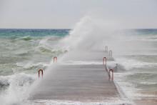 Crashing Waves On Breakwater