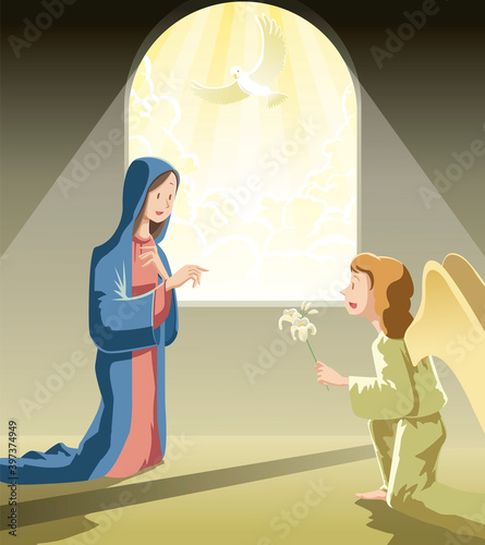 Fotografia The Annunciation   the blessed virgin Mary and  Angel Gabriel