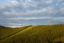 Landscape Of Kremnicke Vrchy Mountains With A Ski Slope And TV And Broadcasting Transmitter