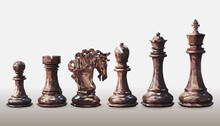 Vector Triangulation, A Set Of Dark Brown, Black Side, Chess Pieces, Low Poly Design Isolated On White Background. Checkmate Symbols Polygon Geometry Shape. King, Queen, Bishop, Knight, Rook And Pawn