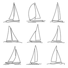 Set Of Simple Vector Images Of High-speed Yachts With Triangular Sails Drawn In Line Style.