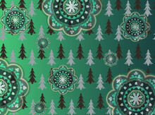 Christmas Tree Illustration With Ornament Patterns On The Teal Gradient Illustration