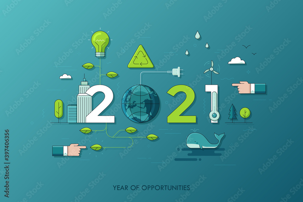 Fototapeta Infographic concept 2021 year of opportunities