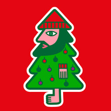 Illustration Of A Bearded Man Disguised As A Christmas Tree
