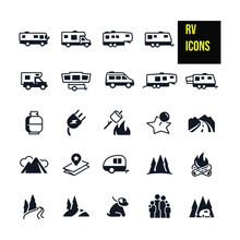 RV Icons Stock Illustration. Motorhomes, A Travel Trailer, Fifth Wheel Trailer, Tent Trailer, Truck Camper And Toy Hauler, Propane, Electricity, Roasting Marshmallows, Map, Mountain Road,