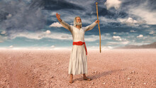 Moses Raising His Arms And Prays To God