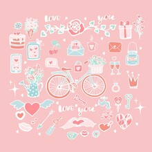 Cute Set Of Vector Objects For Valentine's Day, Collection Of Stickers For Valentine's Day, Bicycle With Tulips In A Basket, Cake With Hearts, Lock With A Key, Roses In A Funnel, Hand Draw, Doodle.