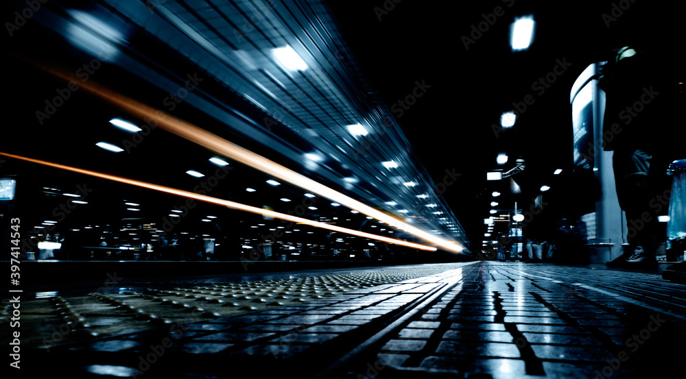 Light painting with strong contrasts at Rogoredo train station, Milan, Italy.